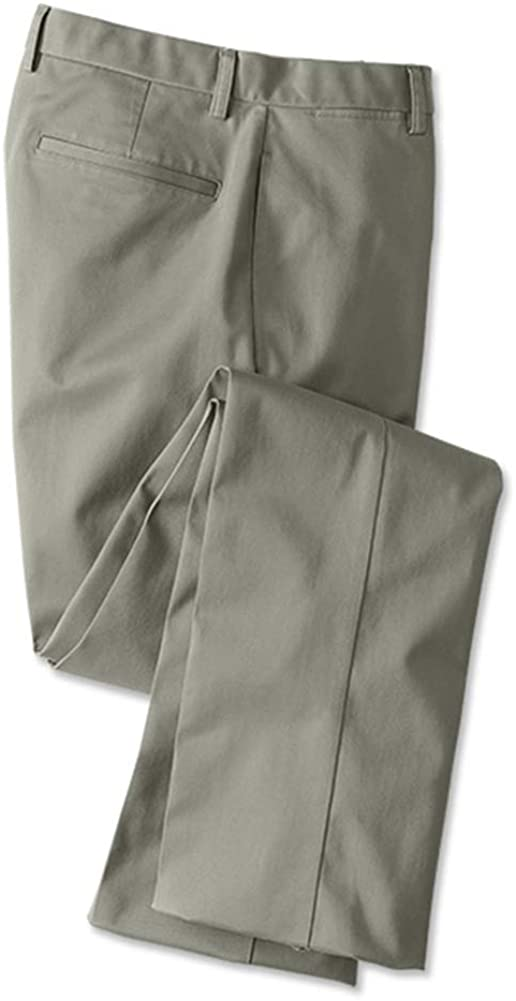 Orvis Mens Wrinkle-Free Cotton Stretch Chinos, Olive, Cuffed