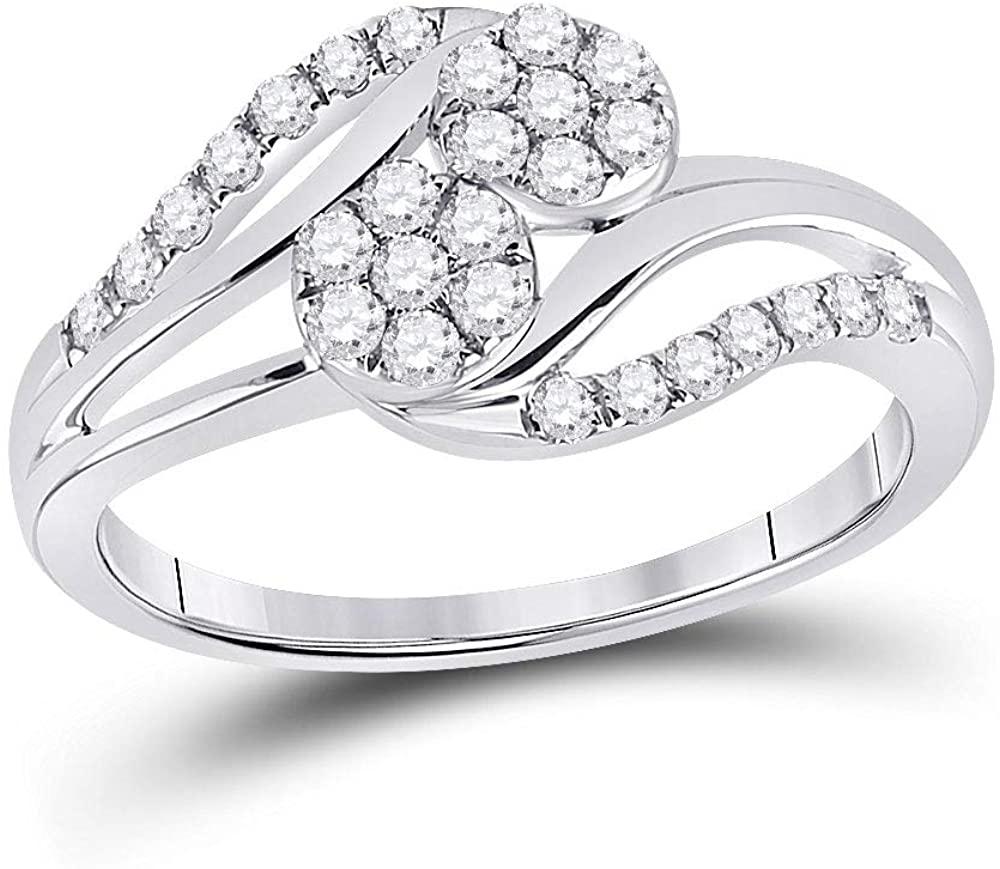 Dazzlingrock Collection 14kt White Gold Round Diamond Cluster Bridal Wedding Engagement Ring 1/2 Cttw