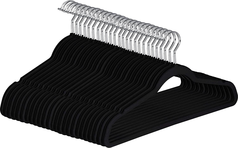 Utopia Home Premium Non Slip Velvet Hangers - Heavy Duty - Coat Suit Hangers (Black, 30)
