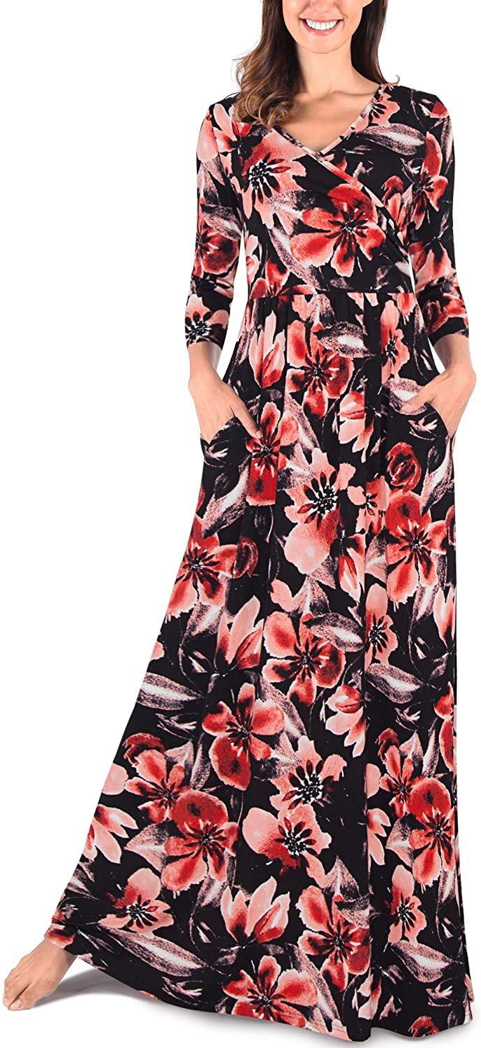 Comila Womens 3/4 Sleeves Floral Print Casual Loose Wrap V Neck Long Maxi Dress