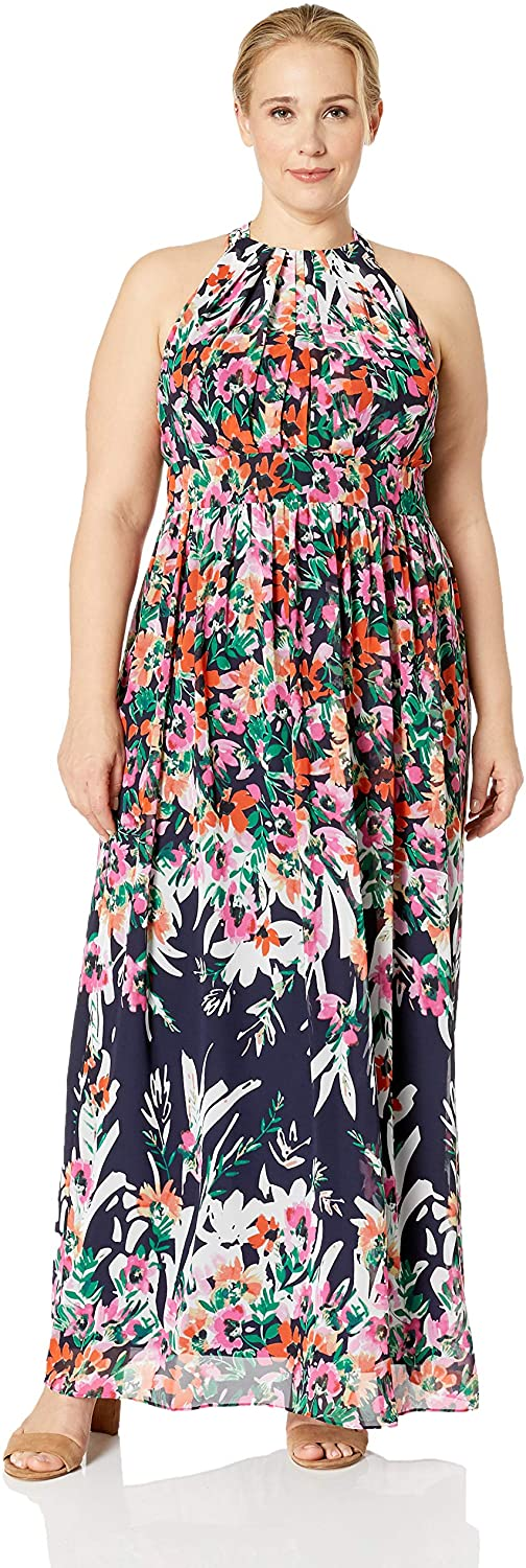Eliza J Womens Plus Size Patterned Halter Maxi Dress