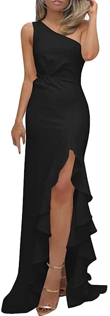 TAGGMY Dress for Women for Party Elegant One Shoulder Ruched Ruffle Formal Evening Dresses Slim Dark Red Maxi Black White