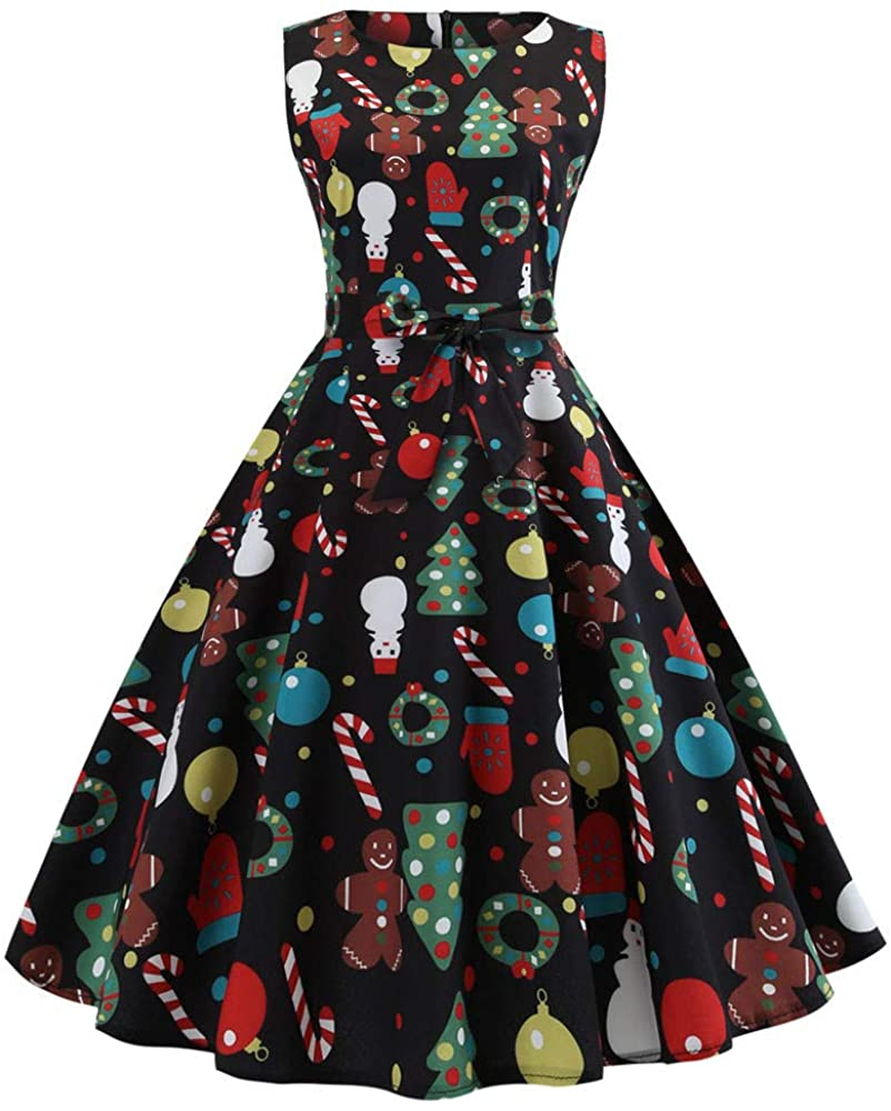 Christmas Vintage Tea Dress Womens Floral Spring Garden Retro Swing Prom Party Cocktail Dress + Belt