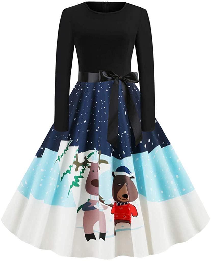 HTHJSCO Women Elegant Dress O-Neck Ruffle Trim Dress Long Sleeve Printed Corset Mini Dress Christmas Zipper Dress with Bow