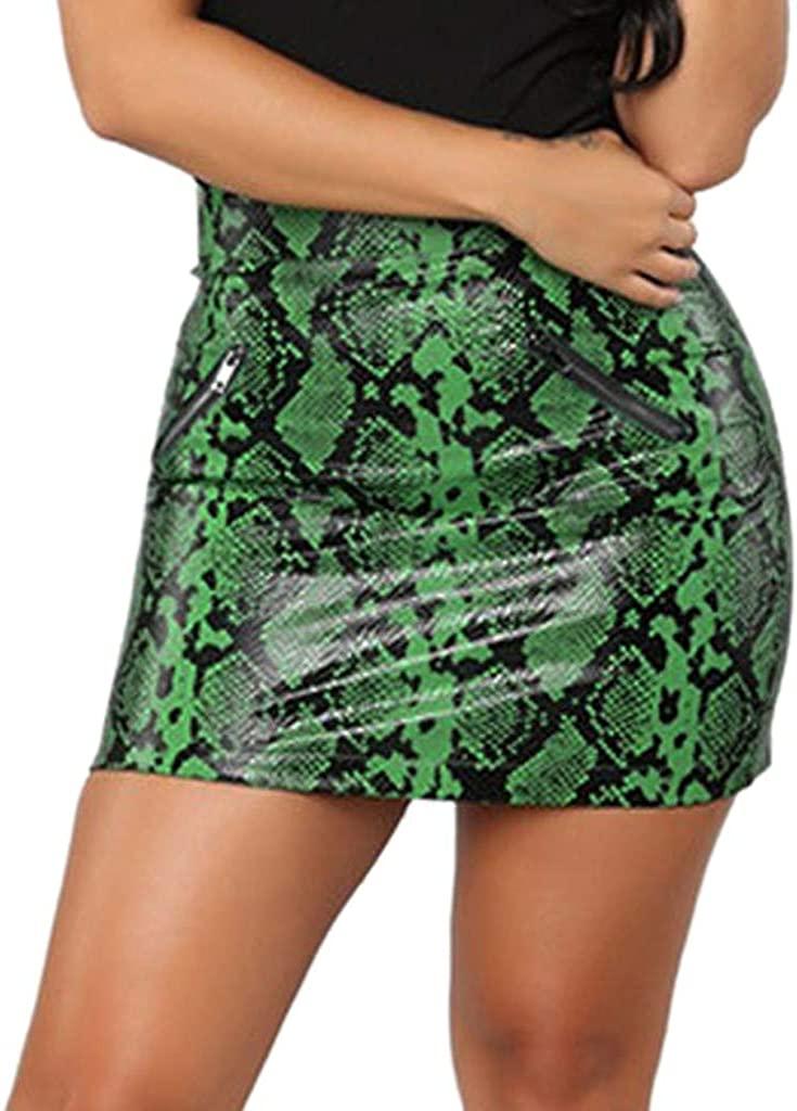 kingfansion women skirt Women's Snakeskin Pattern Fit Bodycon Wrap Skirt Mini Skirts