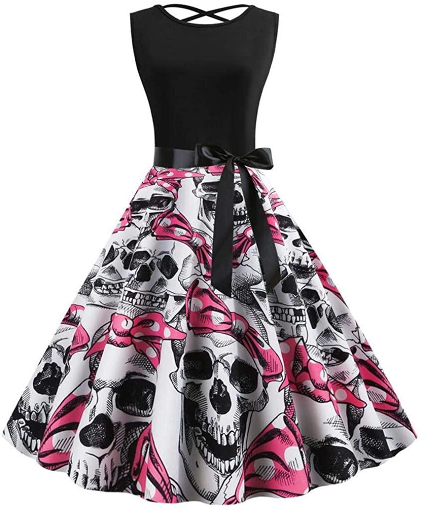 terbklf Halloween Dresses for Women Vintage O Neck Audrey Hepburn Dress 50s Sleeveless Swing Cocktail Party A Line Dress