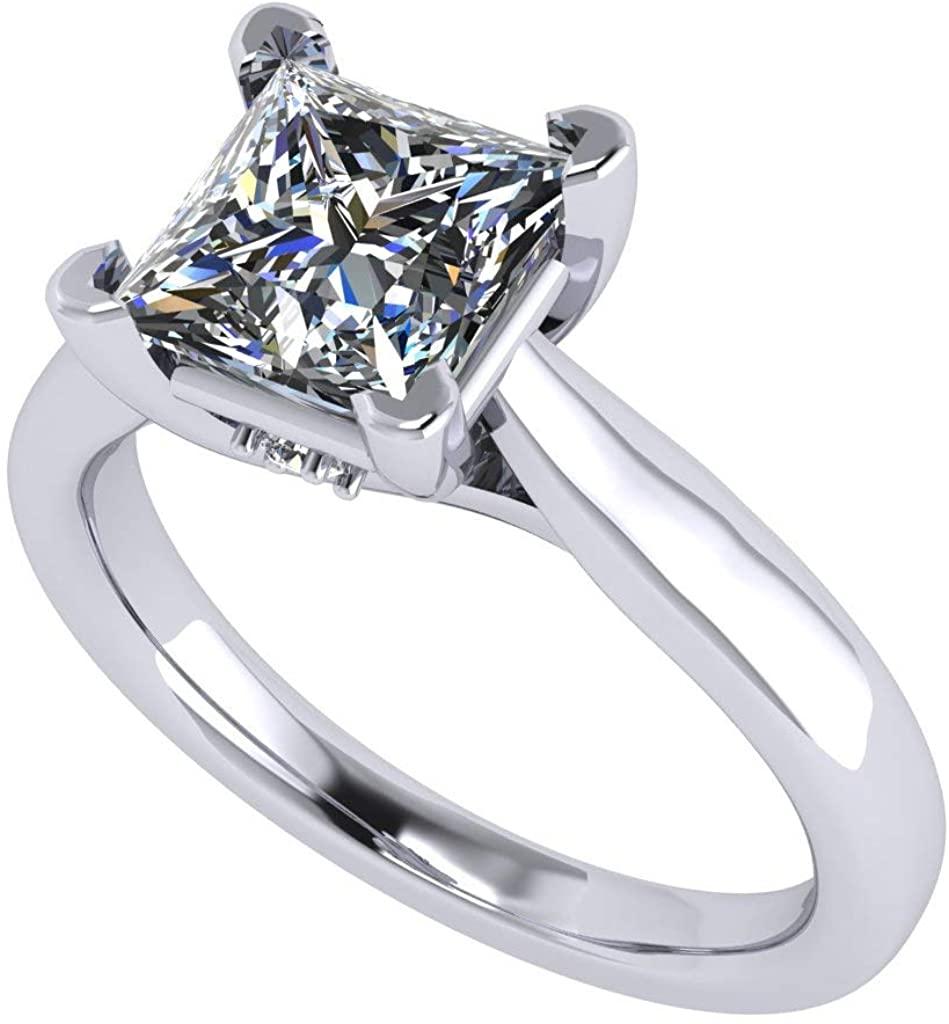 NANA-Princess Cut Solitaire Engagement ring Wedding Ring Swarovski Zirconia-Sterling Silver Lucita Style
