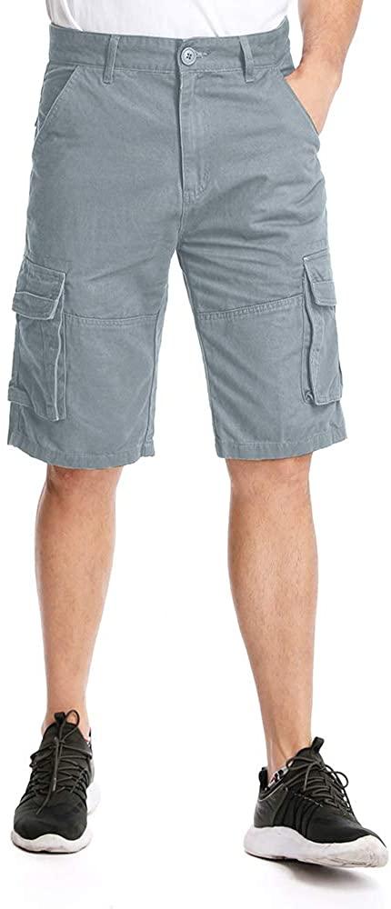 Aiegernle Men's Cargo Shorts, Lightweight Multi Pocket Casual Cotton Twill Cargo Shorts
