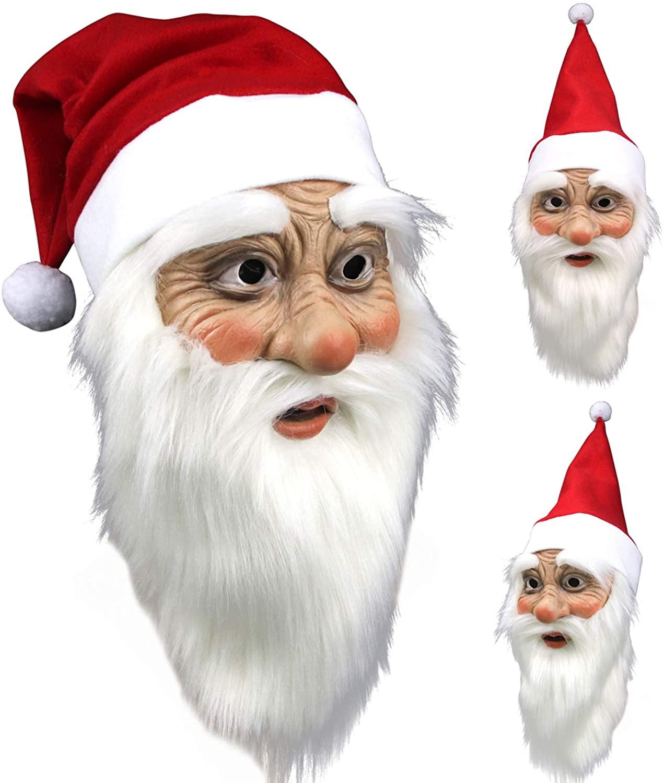 Cosmask Unisex-Adult's Premium Christmas Santa Costume, Soft Latex Mask, Hat, Beard Set, Red and White, One Size