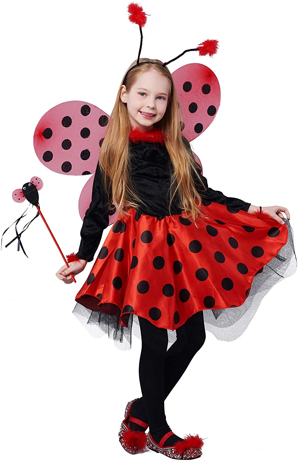 IKALI Ladybug Costume Ballerina Beetle Wings Fancy Dress up Outfit Ladybird Suit