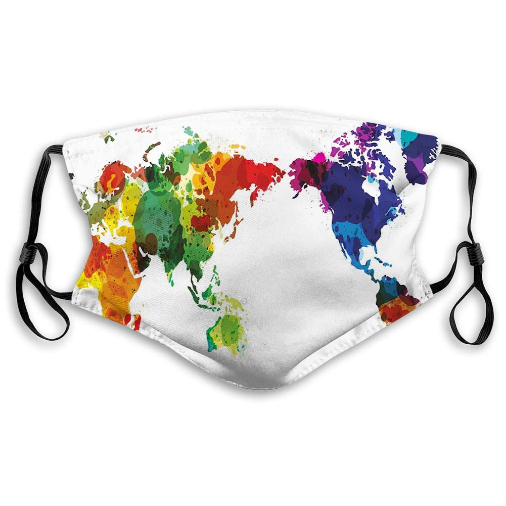 Rainbow Colored Wold Map Grunge Style Abstract Universal Peace Inspired Art,Printed Facial Decoration Comfortable Windproof Face Scarf