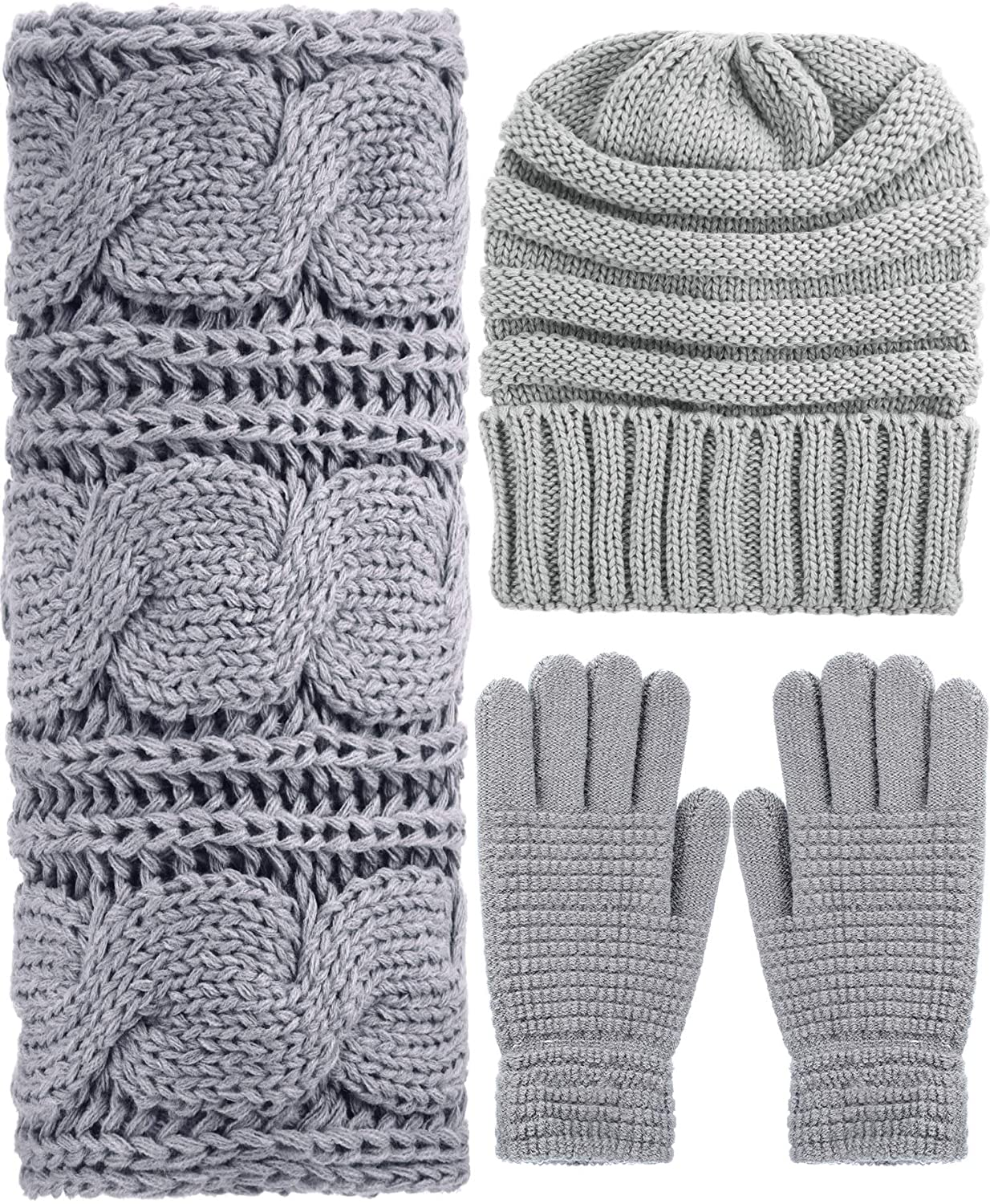 Winter Warm Knit Set - Beanie Hat, Knitted Scarf and Stretch Gloves for Women Men (Grey)