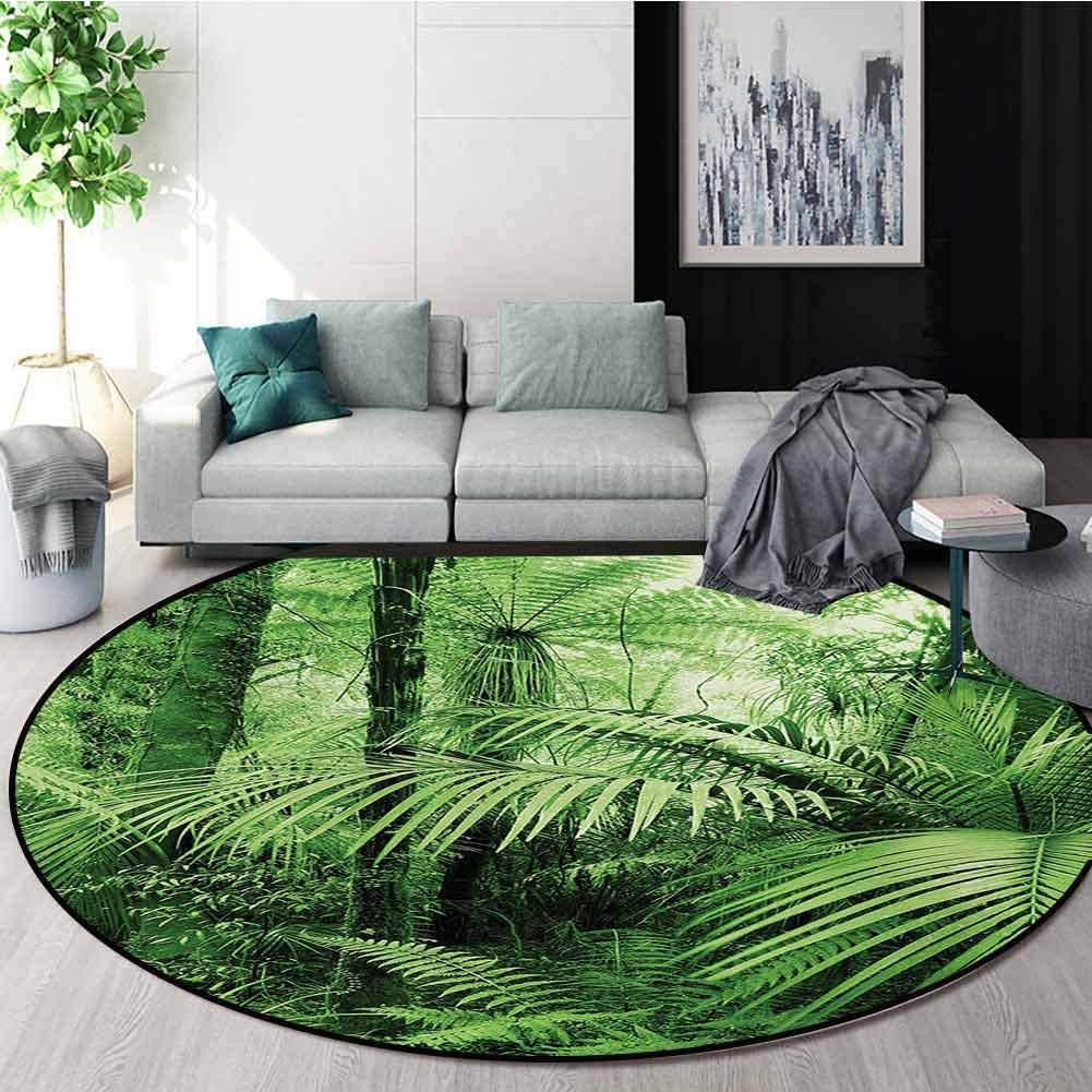 RUGSMAT Rainforest Modern Machine Round Bath Mat,Palm Trees and Exotic Plants in Tropical Jungle Wild Nature Zen Theme Illustration Non-Slip No-Shedding Kitchen Soft Floor Mat,Round-39 Inch