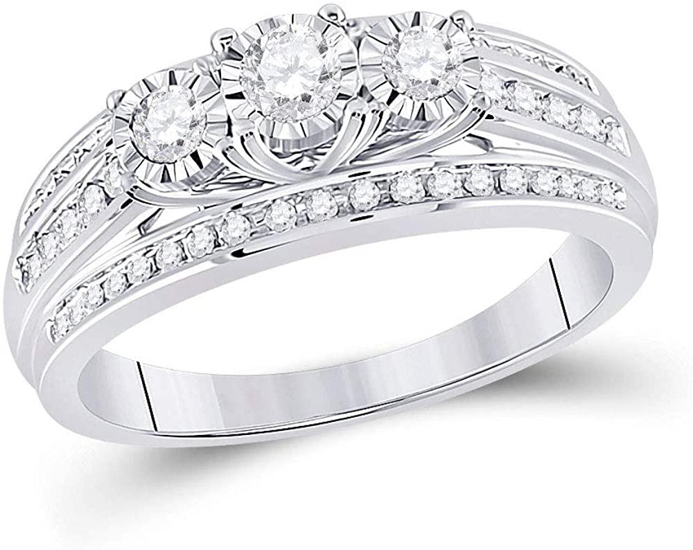 Dazzlingrock Collection 10kt White Gold Round Diamond 3-stone Bridal Wedding Engagement Ring 1/2 Cttw