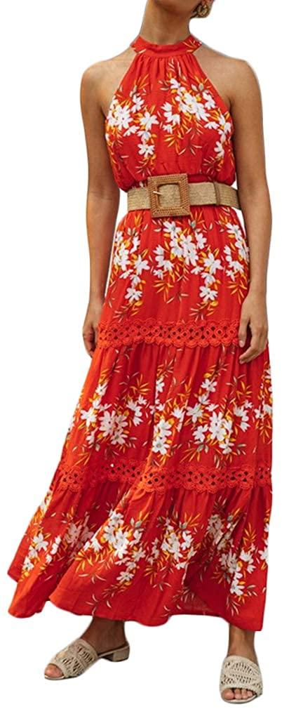 Paixpays Women Boho Sleeveless Long Dress Lace Flower Printed Long Dress with Belt
