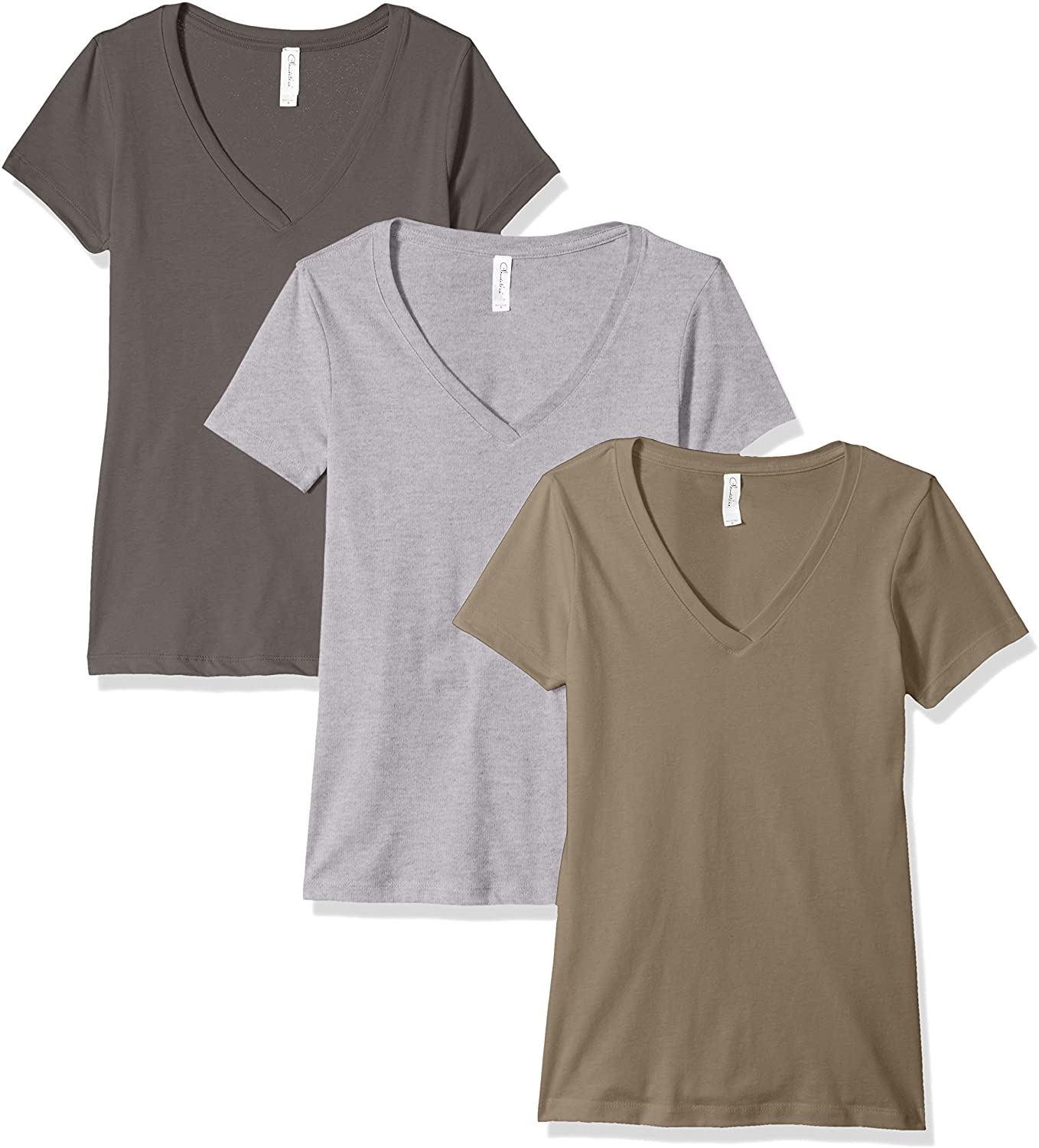 Clementine Apparel V Neck Shirts For Women CLM1540- 3 Pack