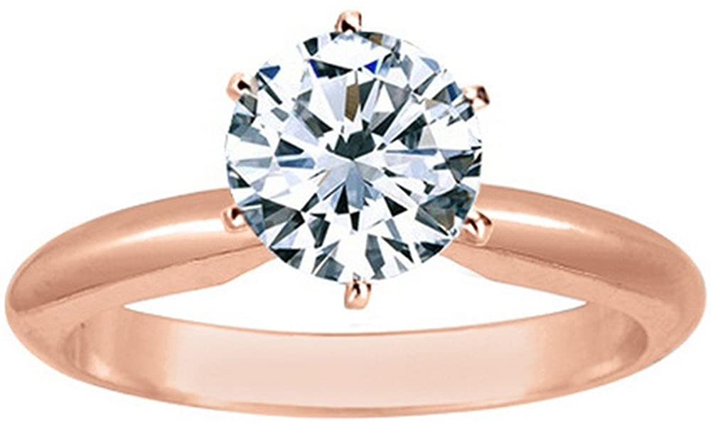0.9 Near 1 Ct Round Cut 6 Prong Solitaire Diamond Engagement Ring 14K White Gold (I Color VVS2 Clarity)