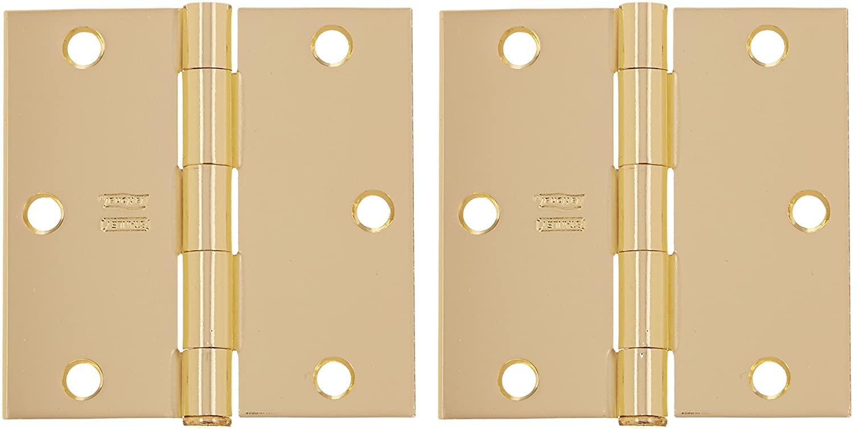 Stanley Hardware S821-207 RP741 Square Corner Residential Hinge in Bright Brass, 2 Pack