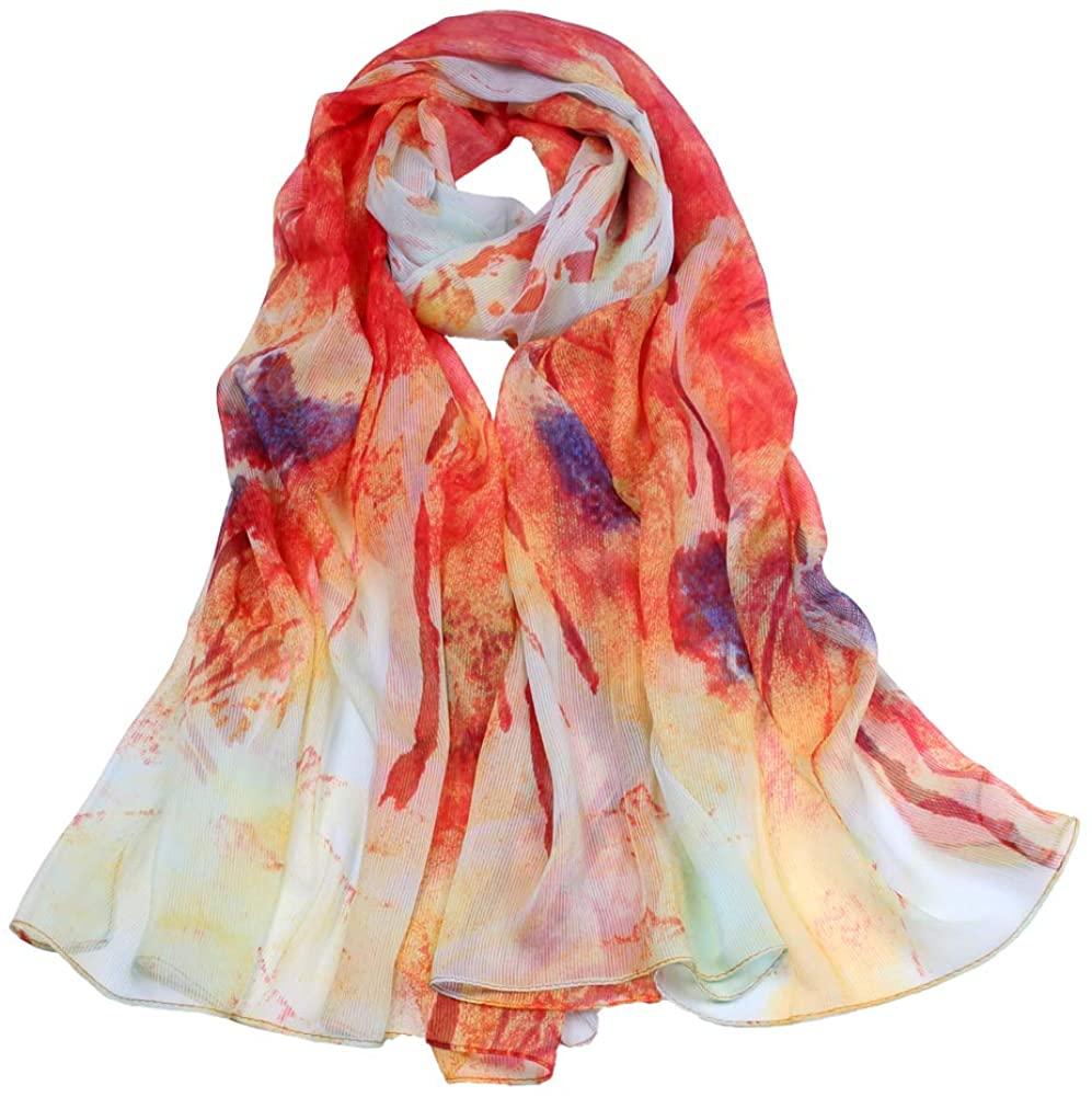 Persmileful Women Silk Like Lightweight Scarf Polyester Shawls and Wrap
