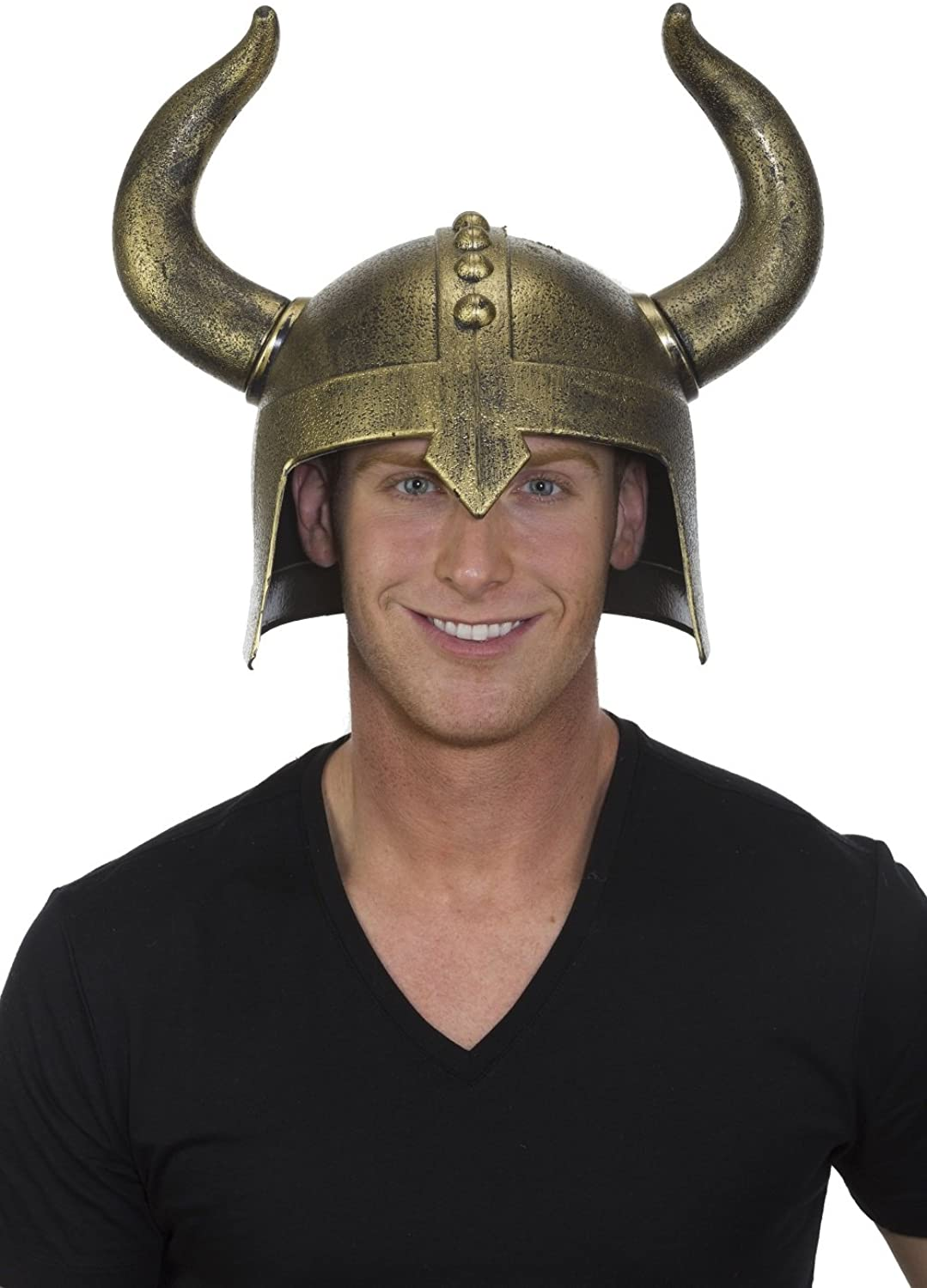 Jacobson Hat Company Men's Medieval Helmet with Horns, Gold, Adjustable