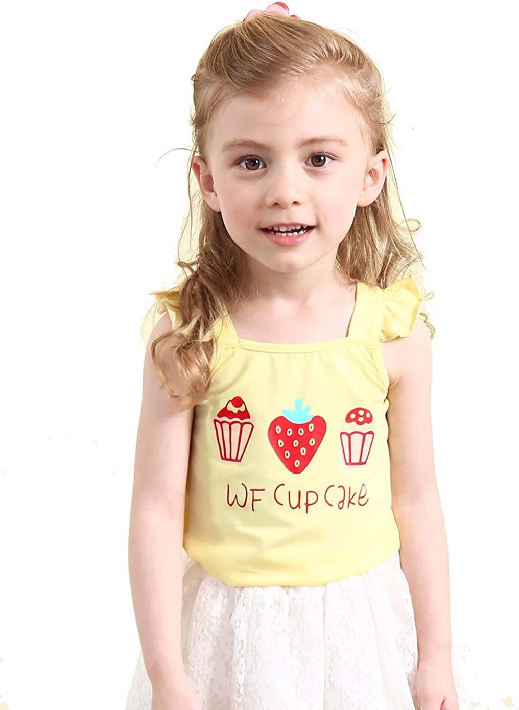 wisefin Toddle Girls Cotton Sleeveless Tank Top Strawberry Cute Printed Multicolor Summer Casual Vest (Yellow, 5-6years)