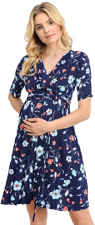 HELLO MIZ Women's Maternity Wrap Dress with Front Tie Belt (X-Large, Royal Blue)