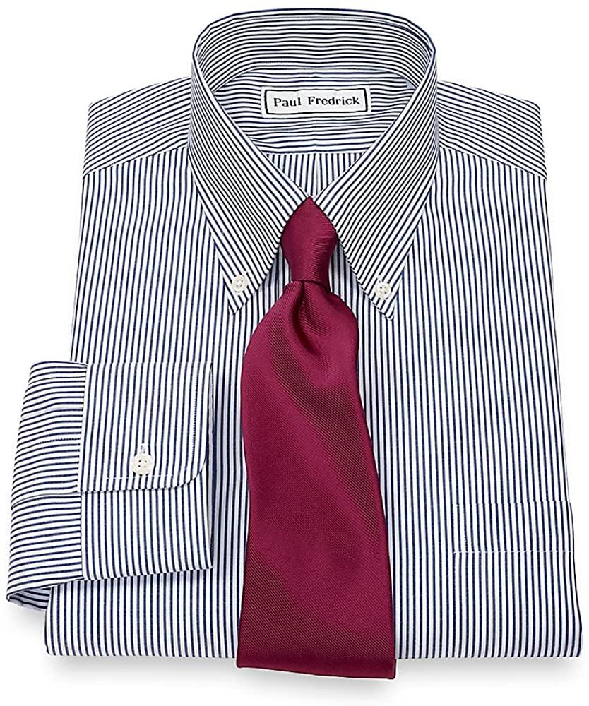 Paul Fredrick Men's Pinpoint Button Down Collar Button Cuff Dress Shirt Blue Stripe 17.0/34 110