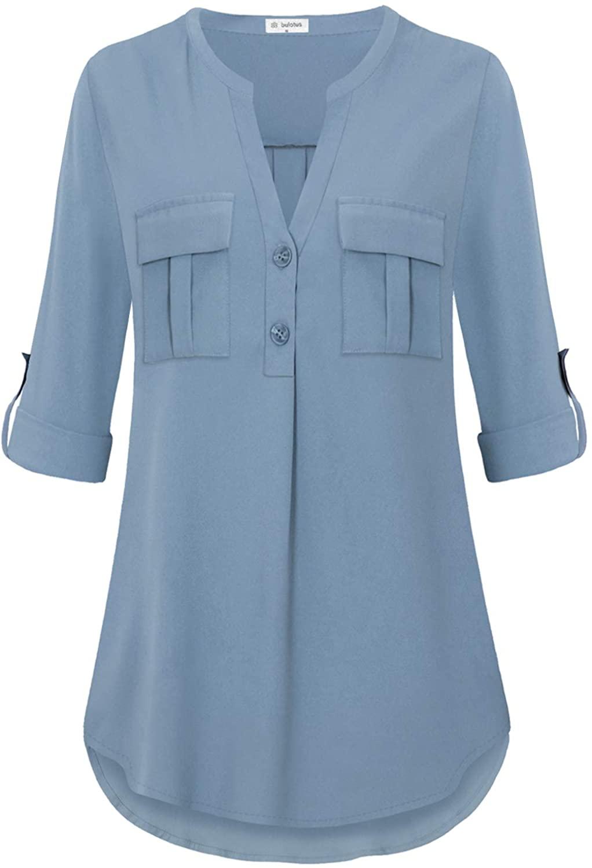 Bulotus Women's V Neck Chiffon Blouse Business Casual Button Down Shirts