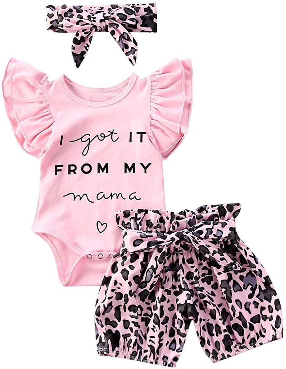 Newborn Infant Baby Girl Clothes Short Sleeve Letter Print Romper Bodysuit Leopard Shorts Headband Summer Outfit Set