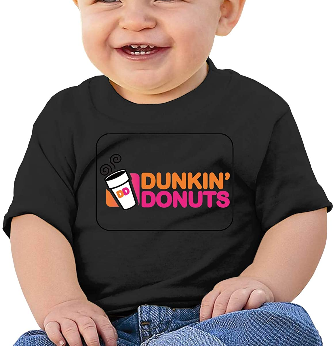 Dunkin-Donuts 18 Months Baby Casual Fashion Short Sleeve T-Shirt Printing Design Baby Tee Black