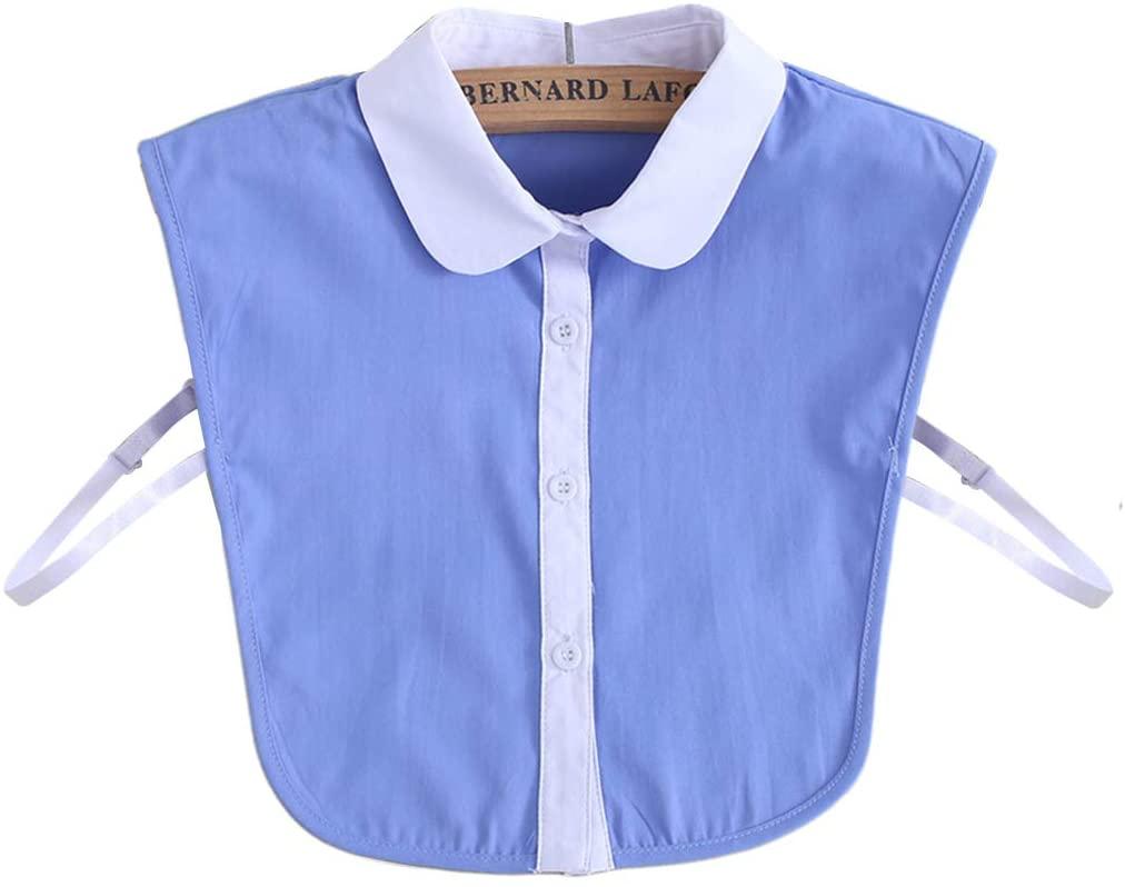 minansostey Commuting Office Ladies Simple False Fake Collar Blue White Contrast Color Button Down Women Detachable Lapel Half-Shirt