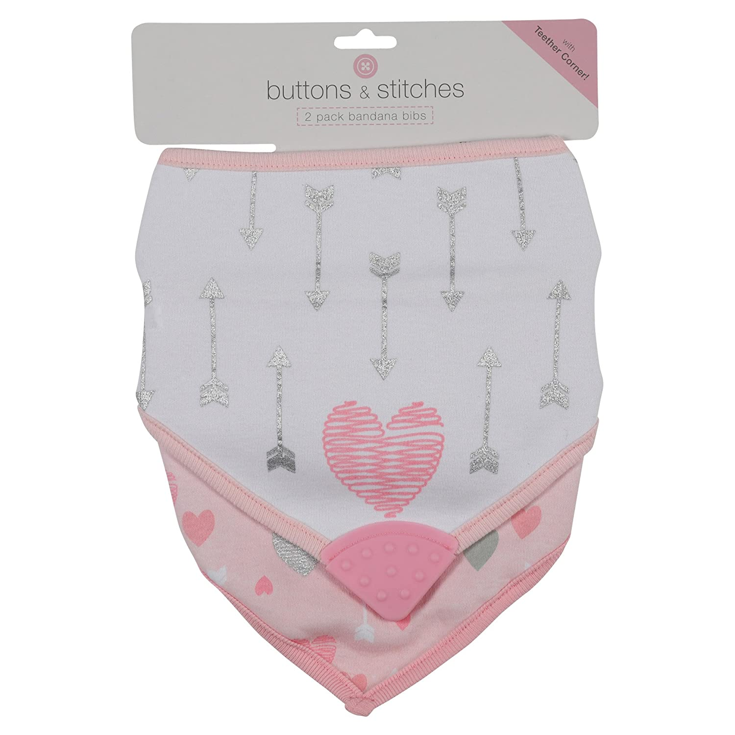 Buttons and Stitches Girls Bandana Bib, Heart and Arrow Print, Pink, 2 Count