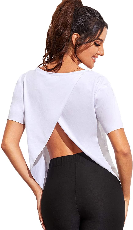 Verdusa Women's Workout Open Back Yogo Top Split Short Sleeve Sports Gym Tee Shirt