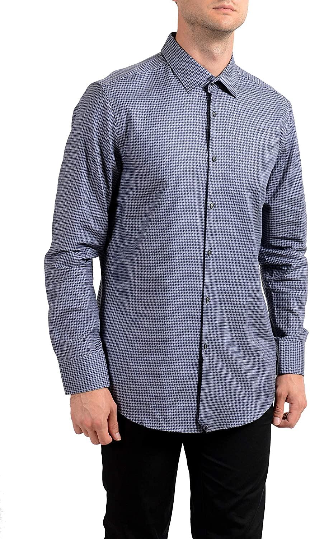 Hugo Boss Men's Jenno Slim Fit Long Sleeve Dress Shirt US 16.5 IT 42 Gray/Blue