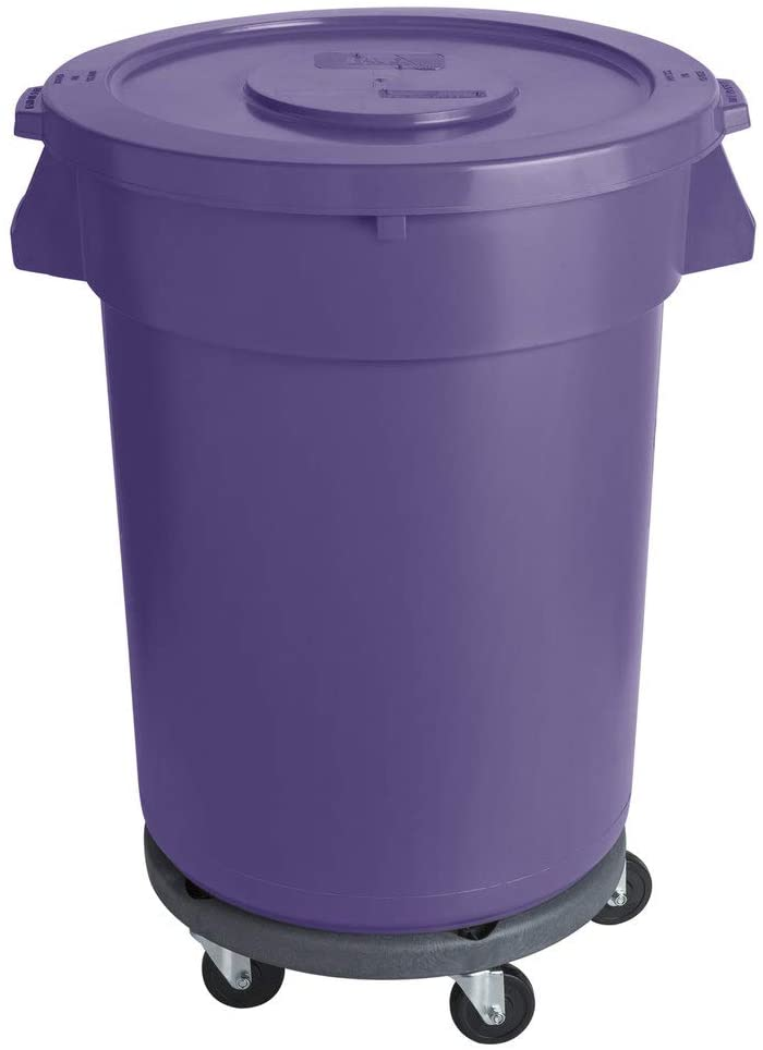 32 Gallon / 121 Liters Purple Round Ingredient Bin/Commercial Trash Can with Lid and Dolly. Trash Container. Trash Bucket. Garbage Bin. Waste Bin. Home Trash Can. Commercial Waste bin.