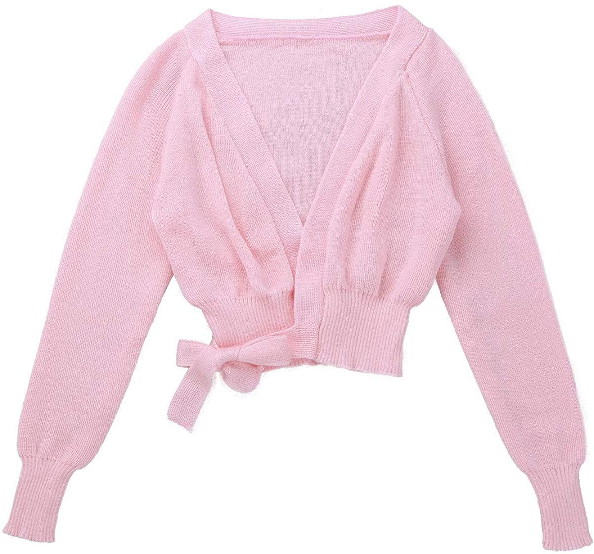 renvena Kids Girls Classic Basic Ballet Dance Gymnastic Active Cardigan Long Sleeve Knit Wrap Warm-up Sweater