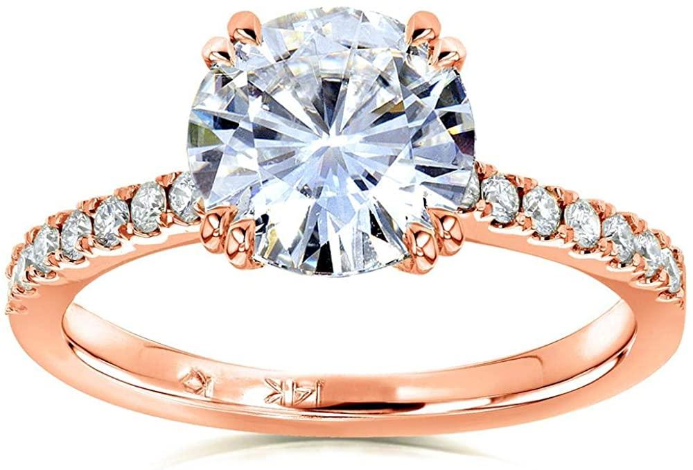 Kobelli Forever One Moissanite and Lab Grown Diamond Engagement Ring 2 1/10 CTW 14k Rose Gold (DEF/VS)