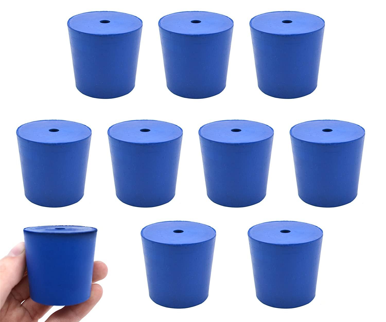 Neoprene Stopper, 1 Hole - Blue, Size: 38mm Bottom, 42mm Top, 40mm Length - Pack of 10