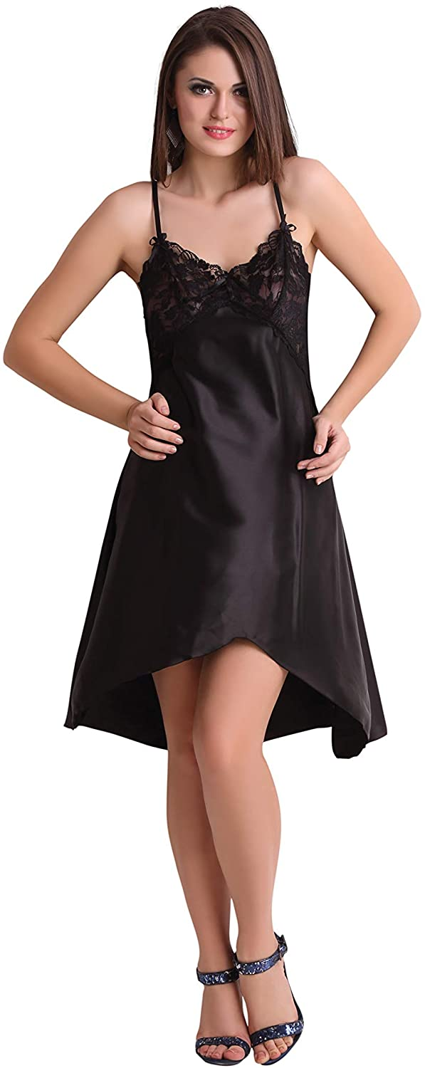 Black Satin Silky Plunge Transy Lace Chemise Nightgown Slip Babydoll Sleepwear Dress Lingerie Women Soft Free Size Camisole