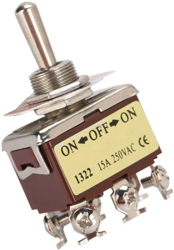 BiuZi Heavy Duty Rocker Toggle Switch 15A 250V DPDT 6 Pin3 Position Terninal ON-Off-ON Switch 12mm Mounting Hole