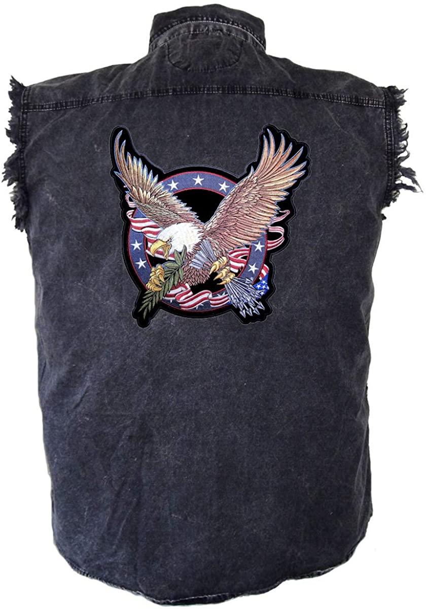 Leather Supreme Mens Acid Wash USA Great Seal Eagle Patch Denim Biker Shirt