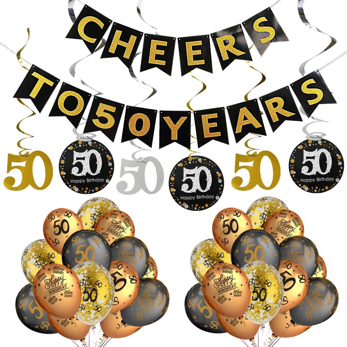50th Birthday Party Decorations Kit- Cheers to 50 Years Banner,Sparkling Celebration 50 Hanging Swirls,Gold and Black Latex 50 Birthday Balloons,Perfect for 50 Years Old Party Decorations Supplies