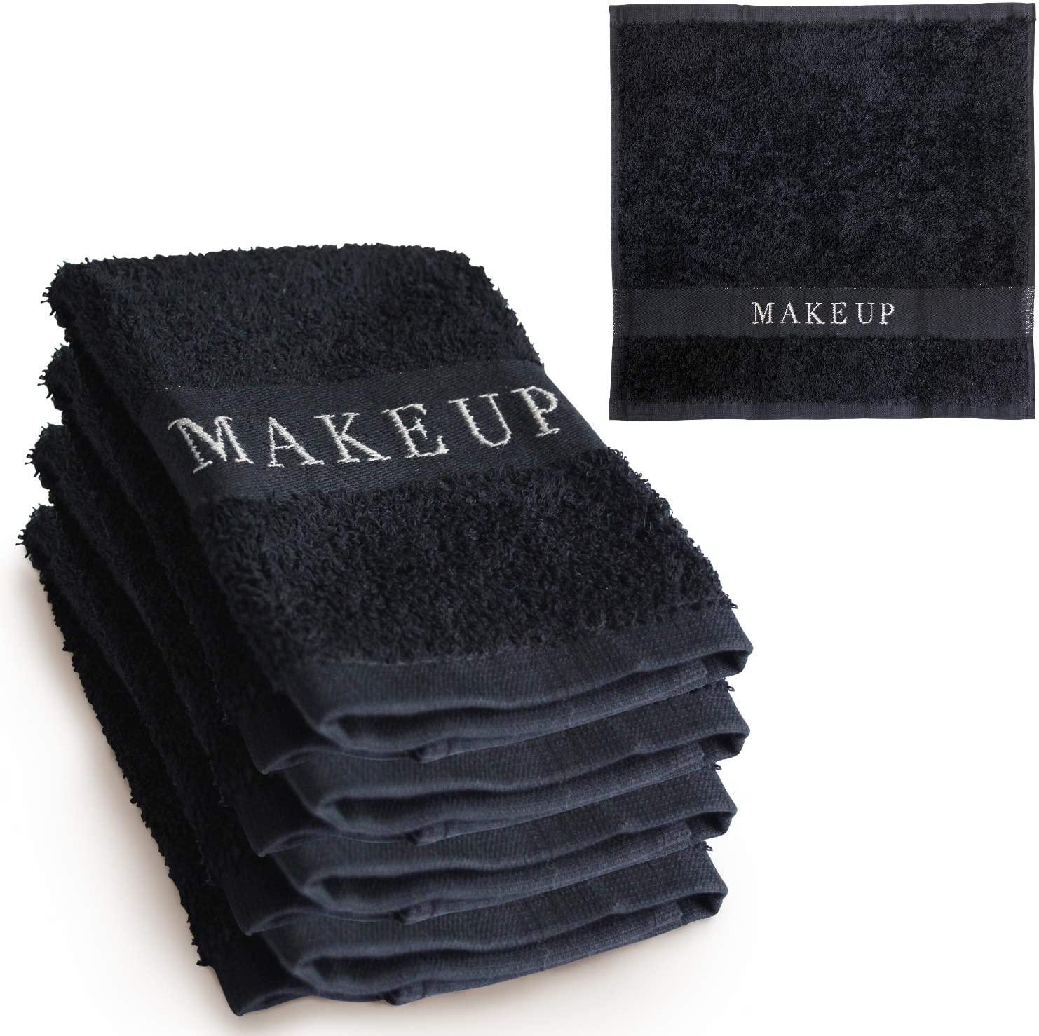 The Little Black Towel Makeup Remover Cloth - Luxury Washcloths for Gentle Face Wash, Removing Eye Liner, Mascara, plus Foundation Eraser. Bleach Resistant, Soft Jacquard Lettering, Pack of 4