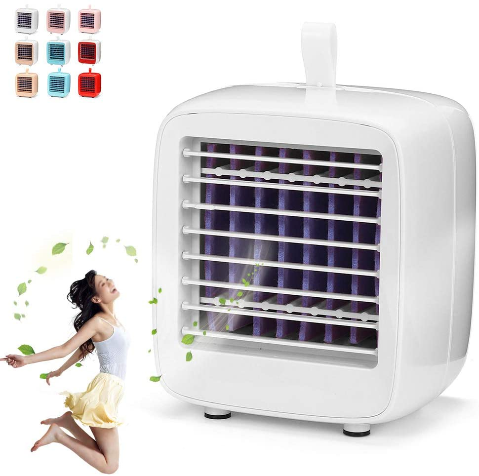 Fengyj Air Coolers for Home Quiet USB Air Conditioner Cooler and Humidifier with Water Tank and Night Light for Office Home Travel Dorm Bedroom,White