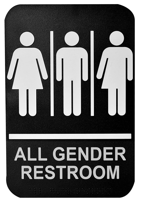 Gender Neutral Sign, Plastic, White on Black-Braille, 6 x 9