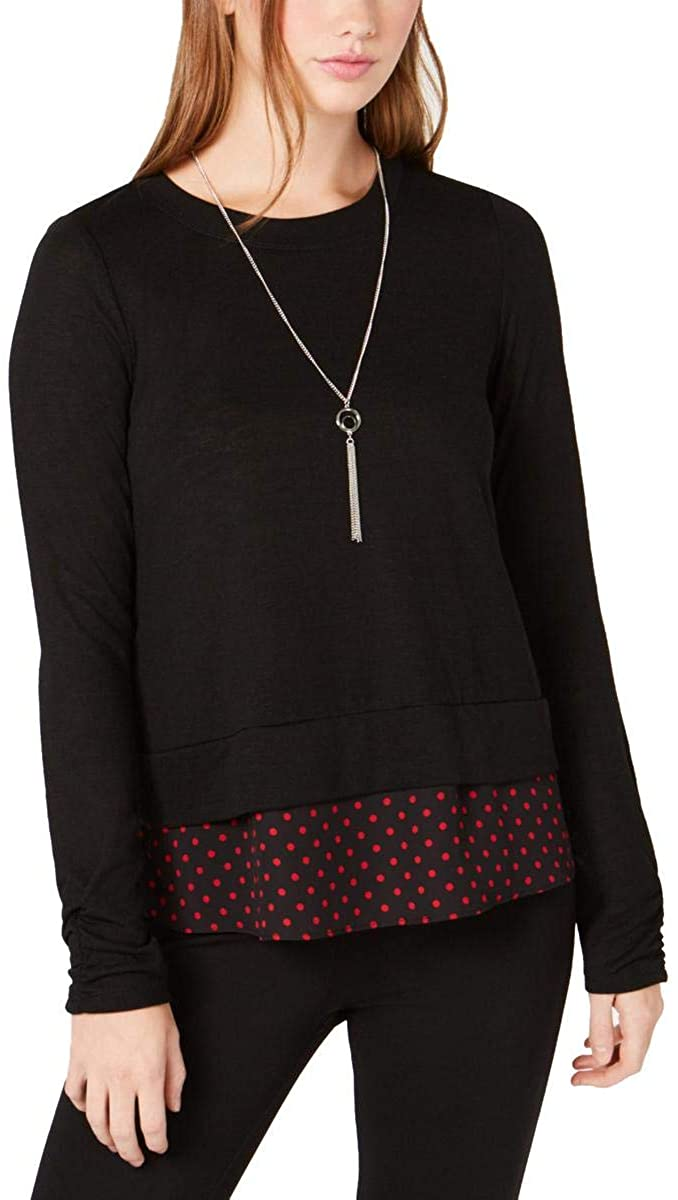BCX Womens Polka Dot Tiered Pullover Top
