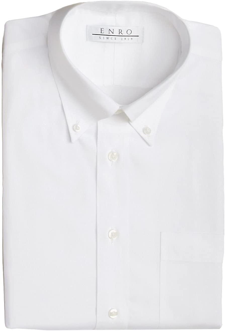 Enro Men's 100% Cotton Non-Iron Button Down Dress Shirt White 20 34/35