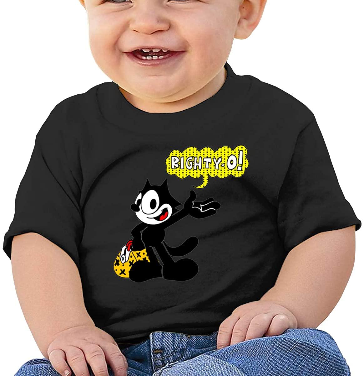 RZJMRU Felix The Cat Right Y.O Custom Soft Tee for Baby Boy T Shirt Black