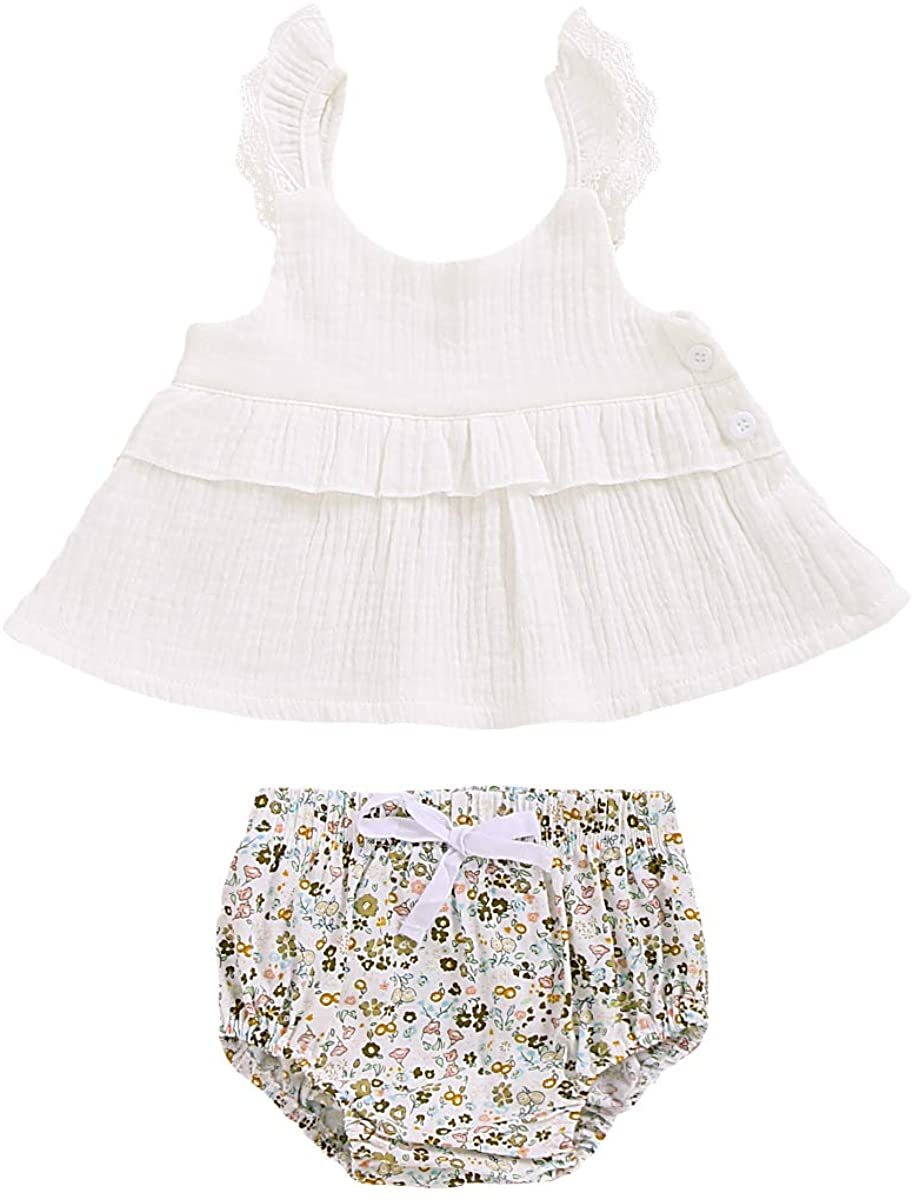 Infant Newborn Baby Girls Summer Outfits Strapless Short Sleeve Tops + Floral Short Pant Toddler Girls Clothes Sets 2Pcs