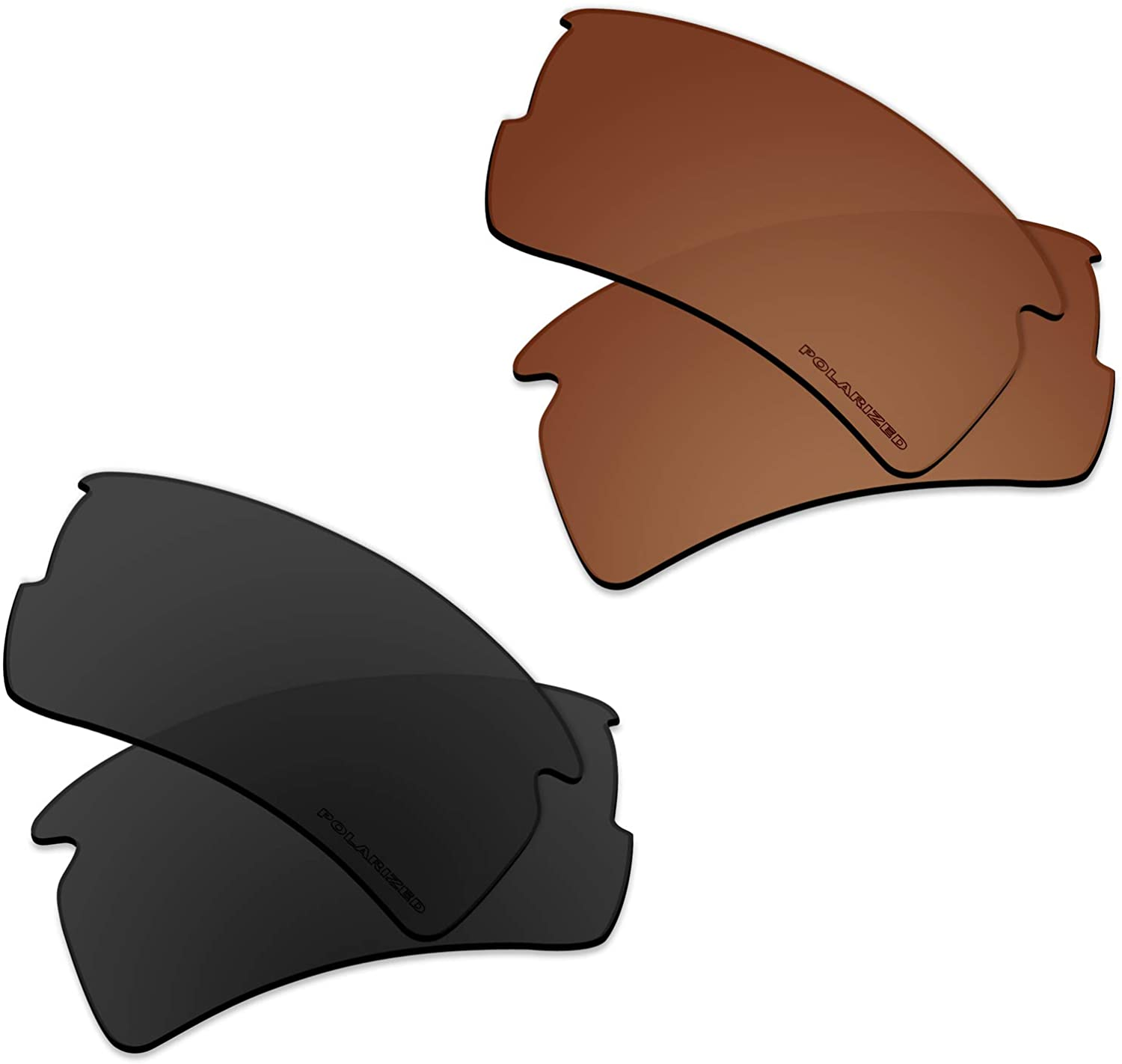 Polarized Replacement Lenses Compatible with Oakley Flak 2.0 XL Sunglass - Black+Brown